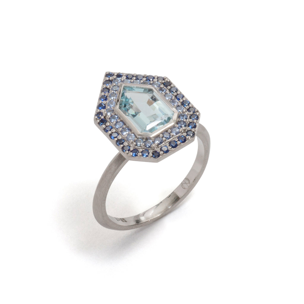 Aquamarine and Double Sapphire Halo Ring
