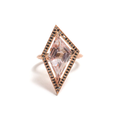 Morganite and Black Diamond Elevate Halo Ring