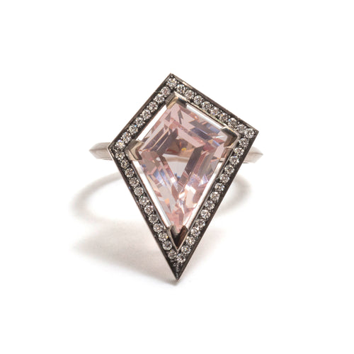 Morganite and White Diamond Elevate Halo Ring