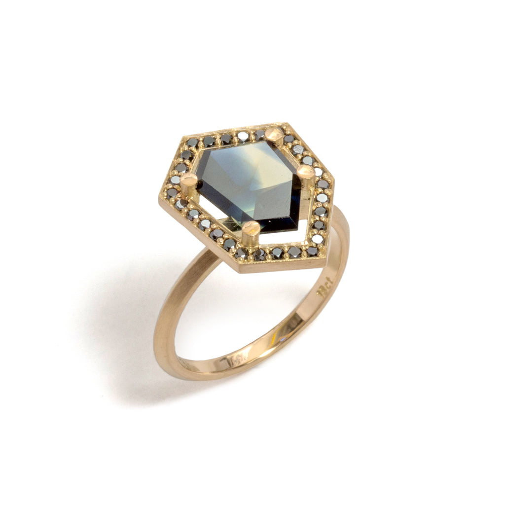 Stormy Sapphire and Black Diamond Elevate Halo Ring