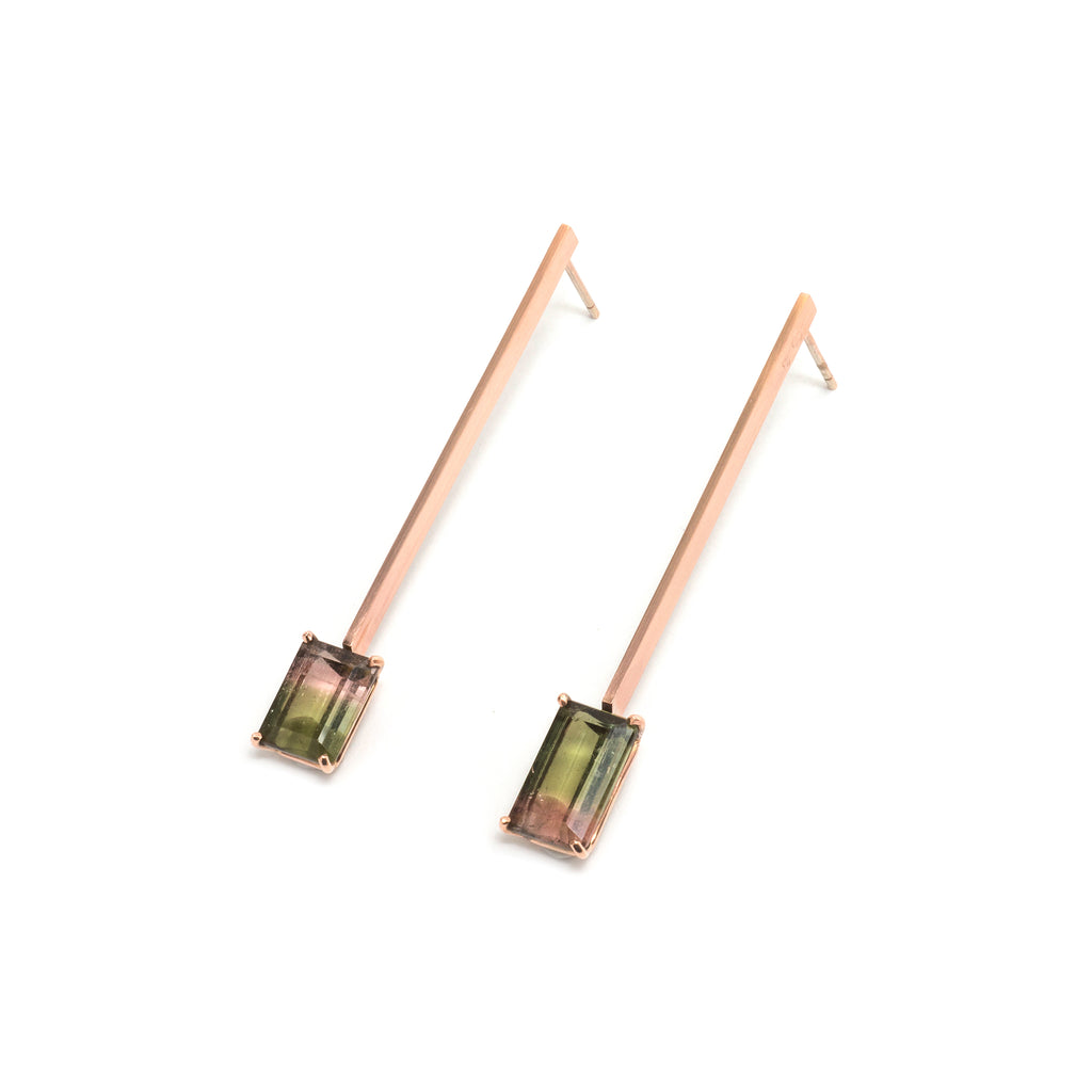 Vertical Watermelon Tourmaline Earrings