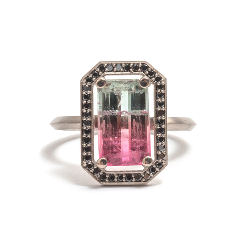 Watermelon Tourmaline Four Claw Black Diamond Halo Ring