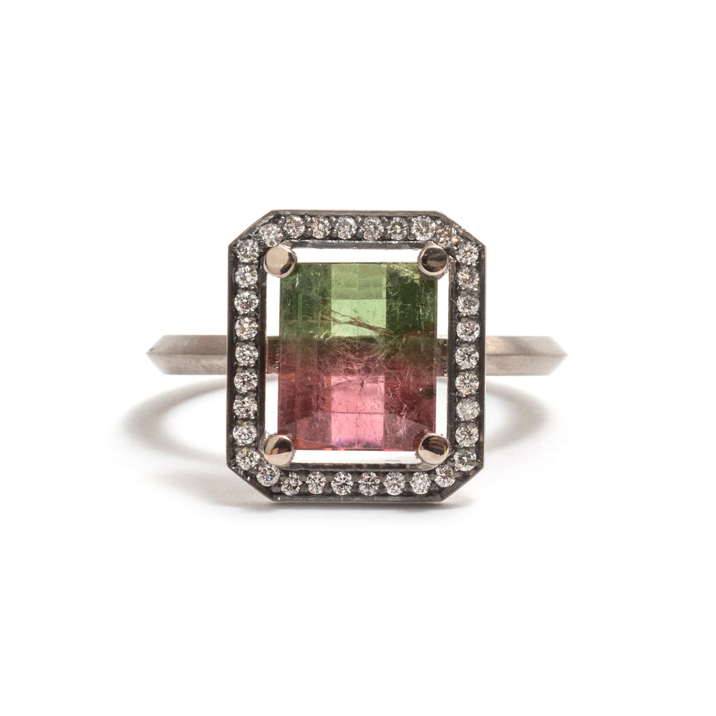Watermelon Tourmaline Four Claw White Diamond Halo Ring