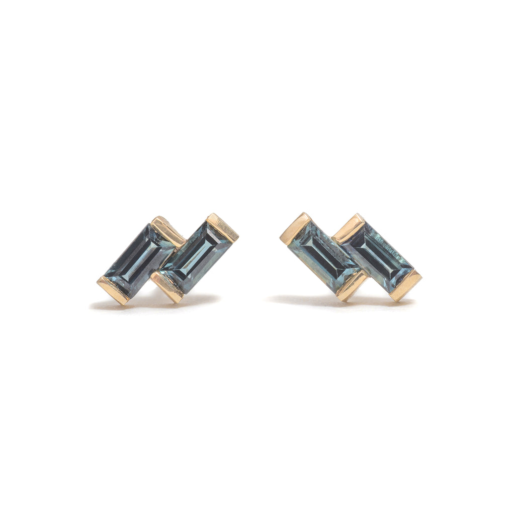 Double Sapphire Baguette Earrings