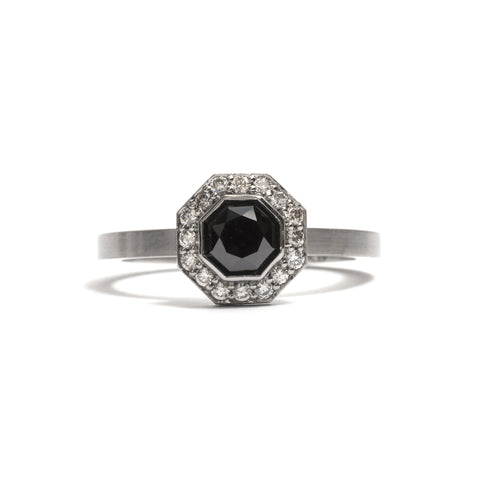 Octagonal Black Diamond Halo Elevate Engagement Ring