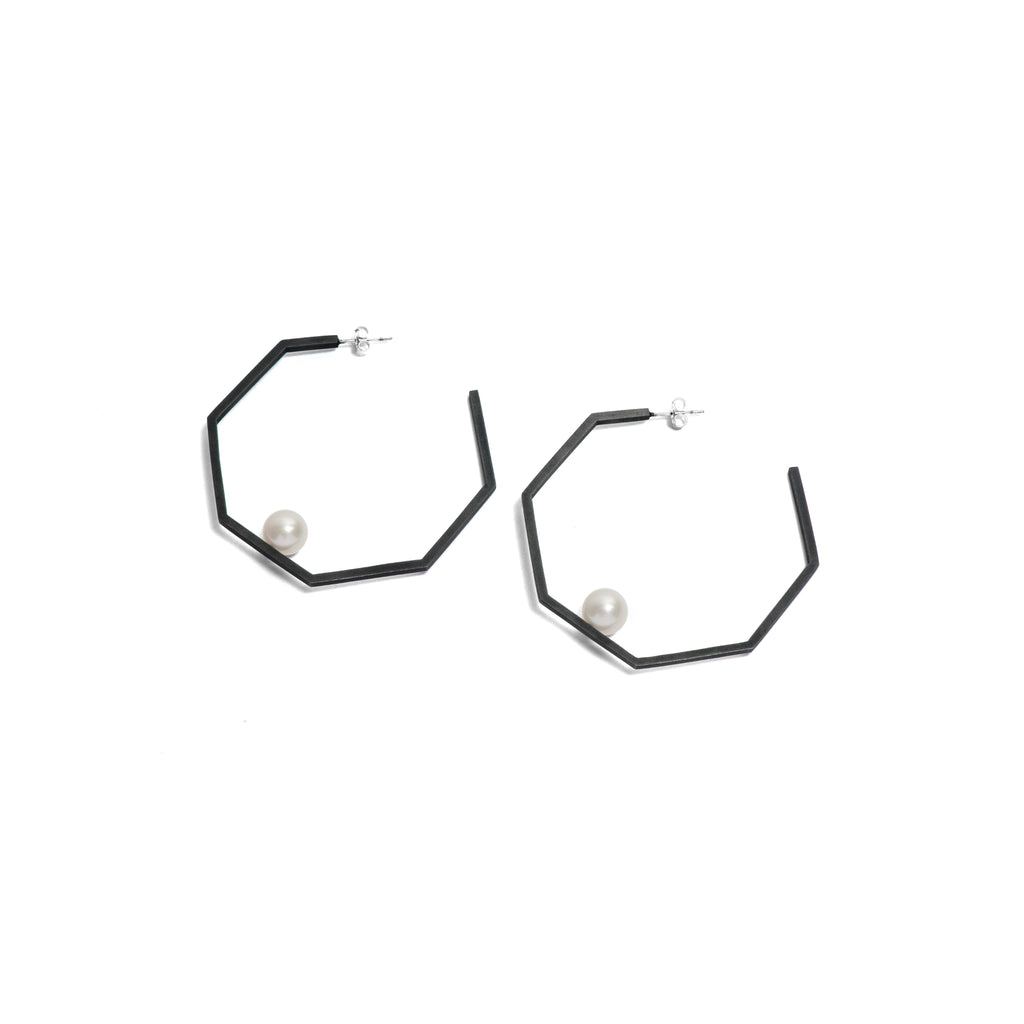 Large Hexagonal Hoop Earrings