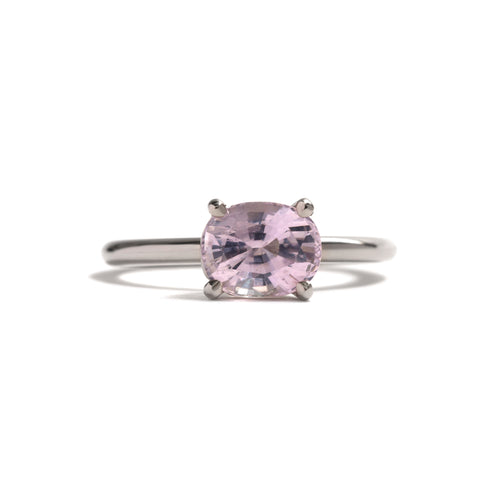 Palest Pink Cushion Cut Sapphire Ring