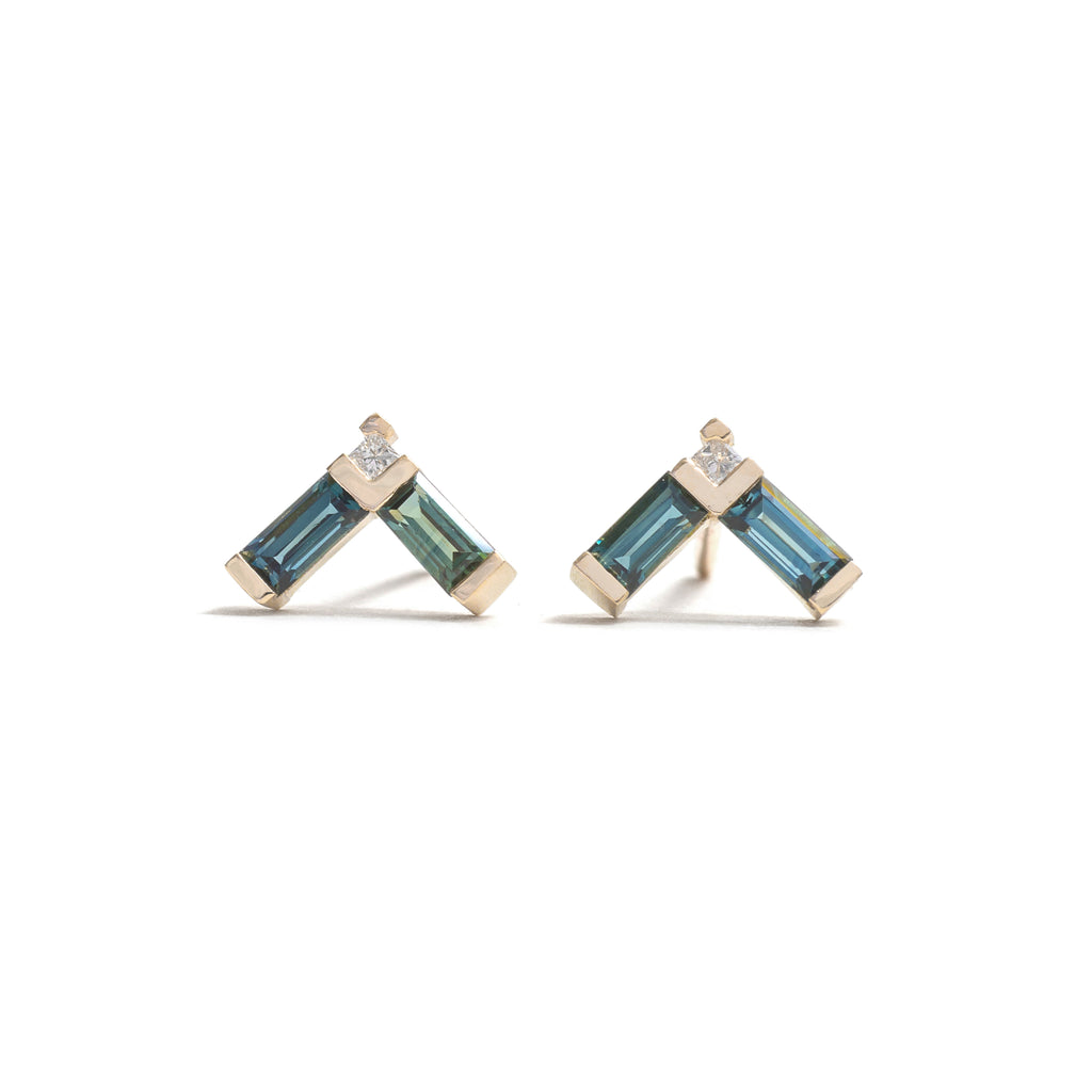 Right Angle Sapphire Earrings