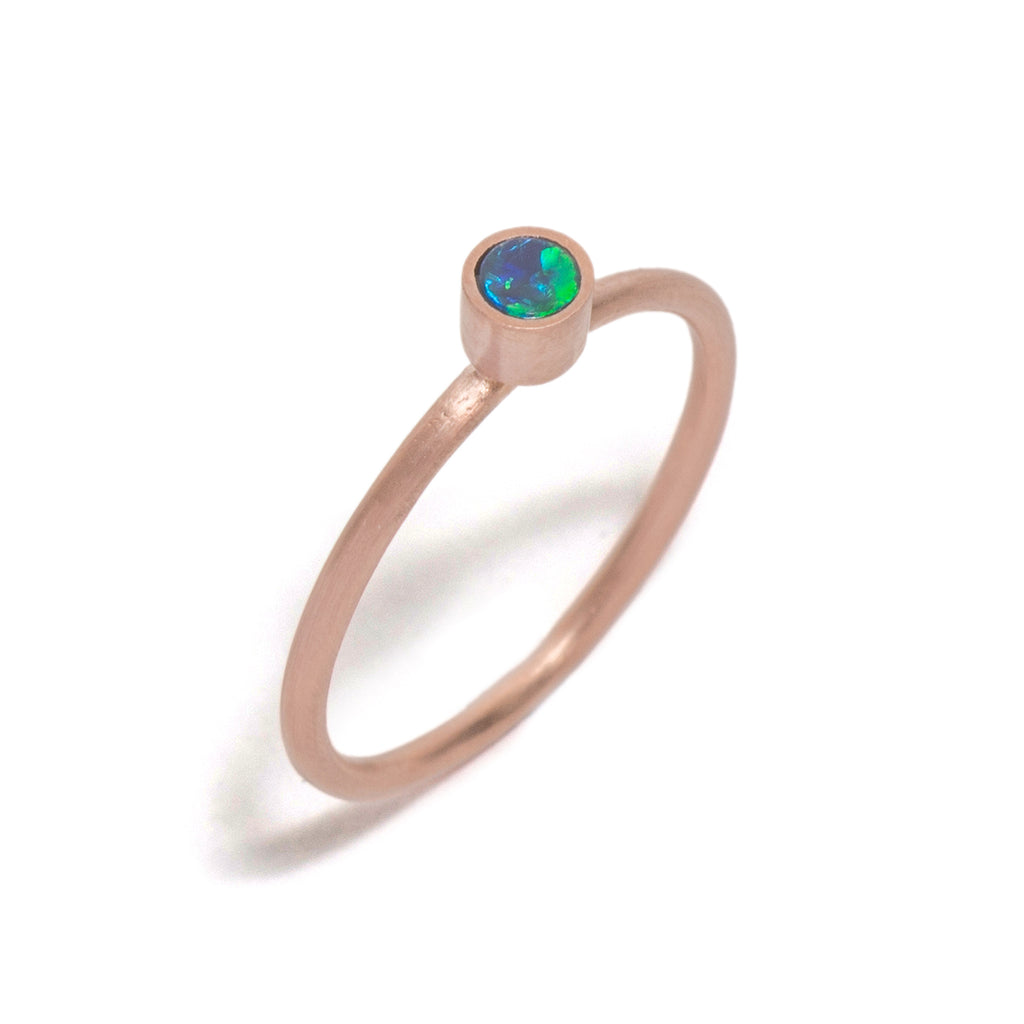 Golden Opal Element Small Stacking Ring