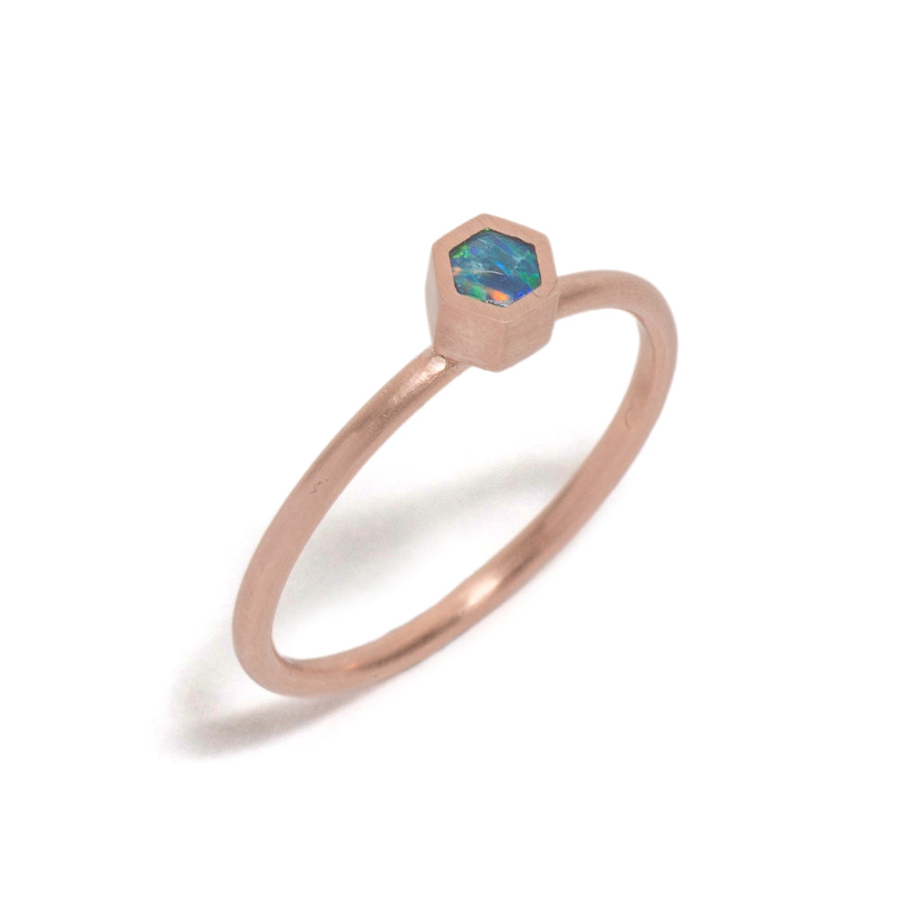 Rose Gold Opal Element Small Stacking Ring