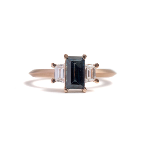 Sapphire Baguette and Diamond Trapezoid Ring