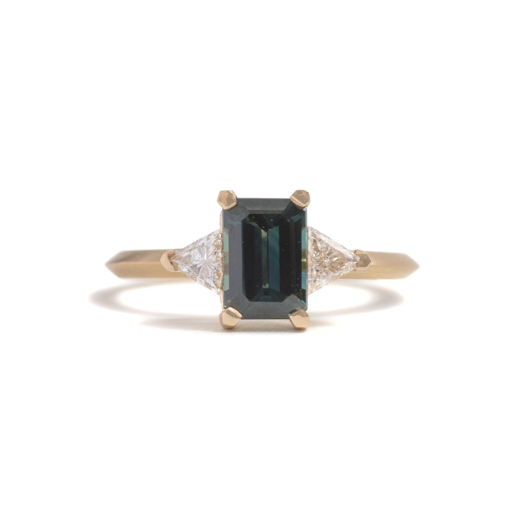 Emerald cut Sapphire and Trillion Diamond Ring