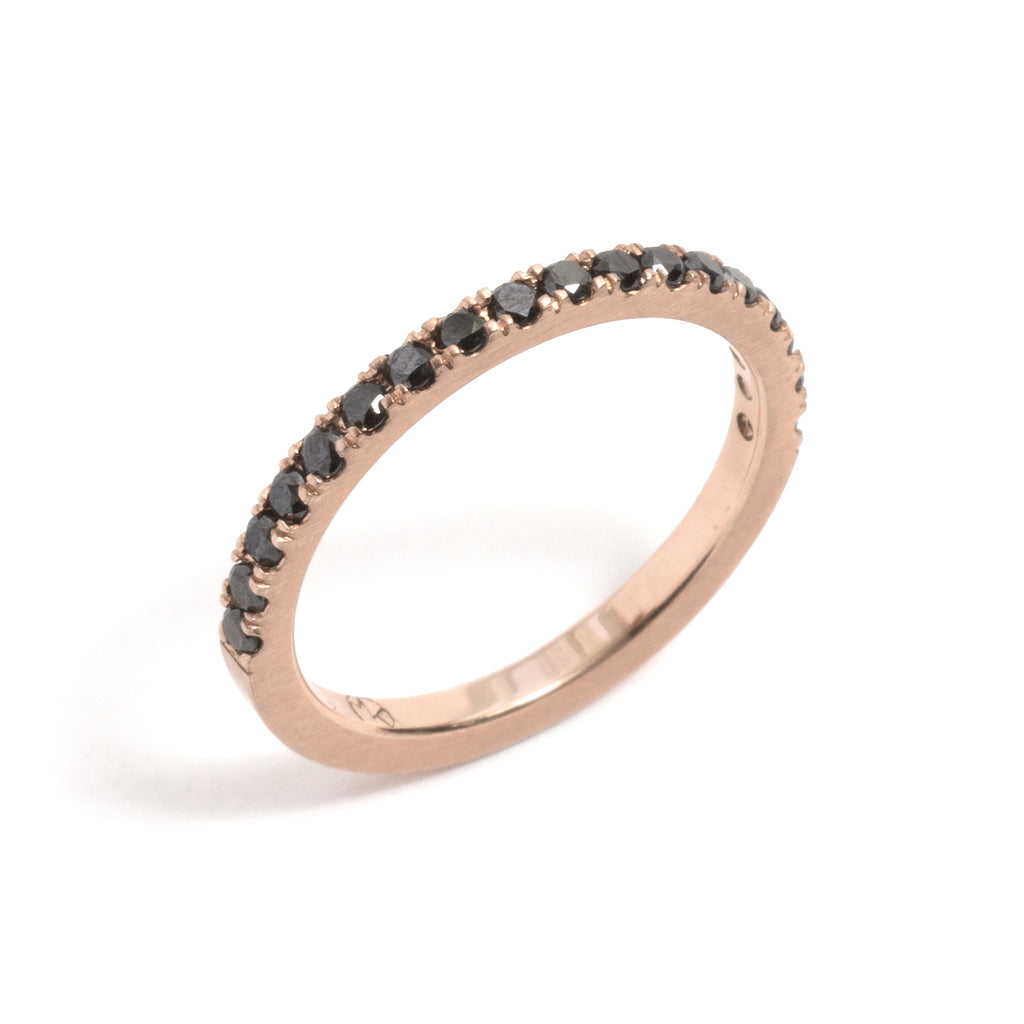 Rose Gold and Black Diamonds Side by Side Ring