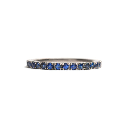 White Gold and Sapphires Side by Side Ring