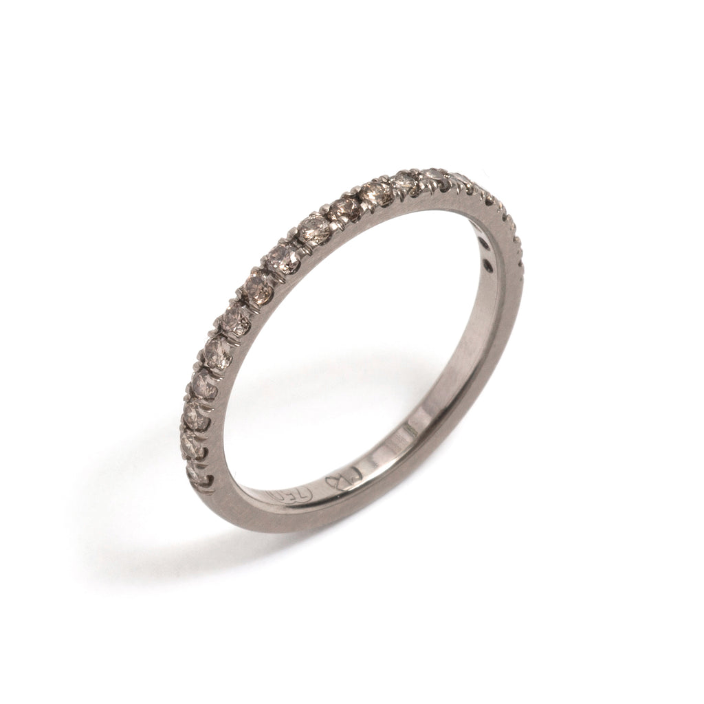White Gold and Champagne Diamonds Side by Side Ring