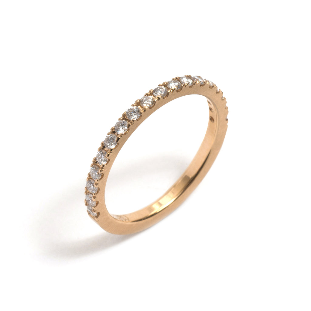 Yellow Gold and White Diamonds Side by Side Ring