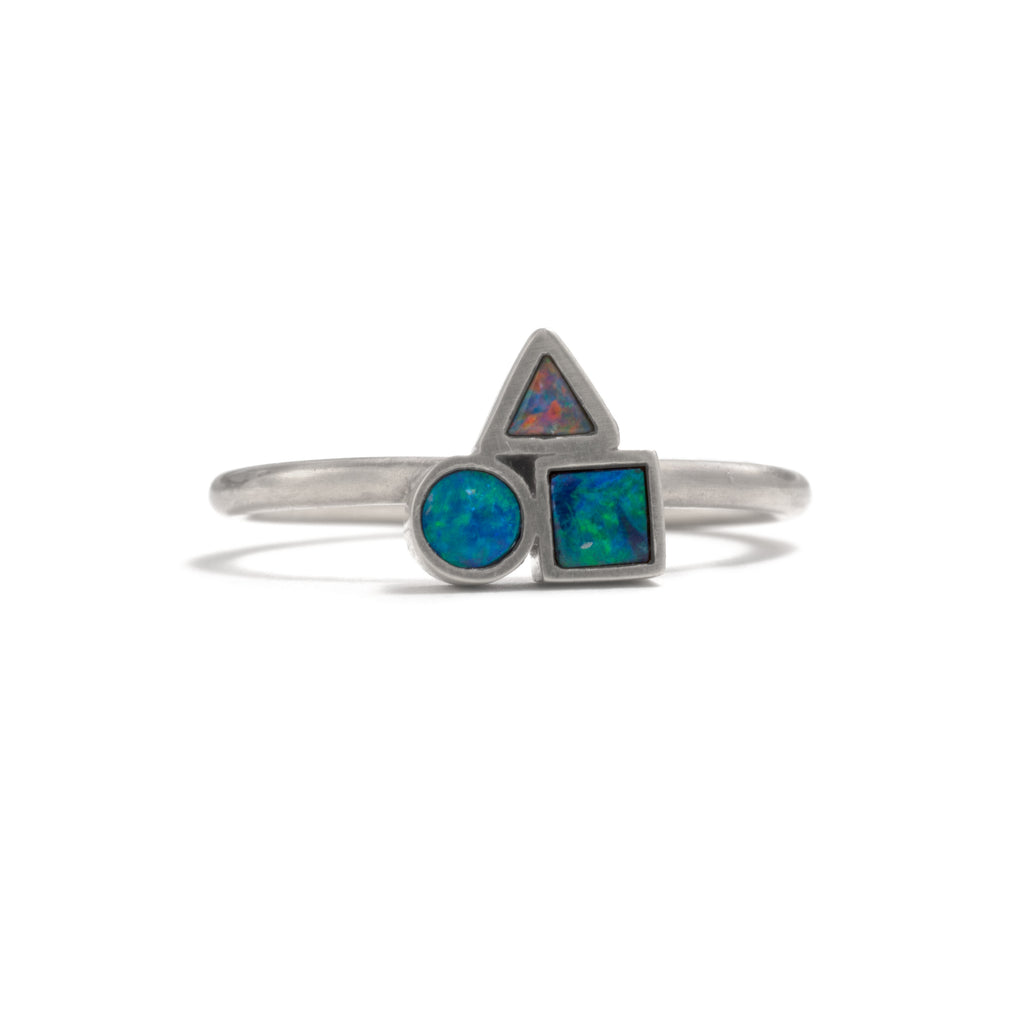 Silver Opal Element Cluster Ring