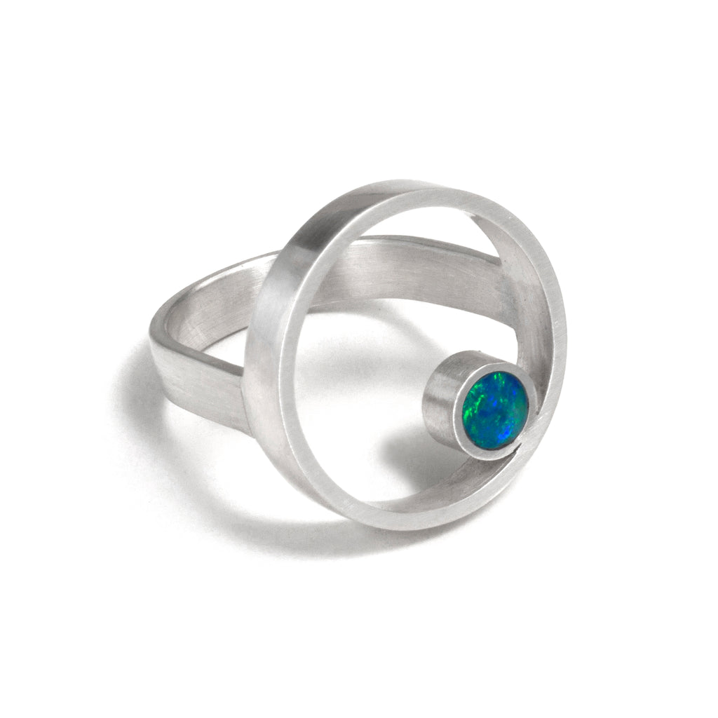 Silver Opal Double Circle Ring