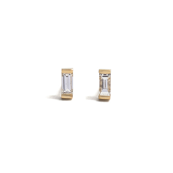 Single Diamond Baguette Earrings