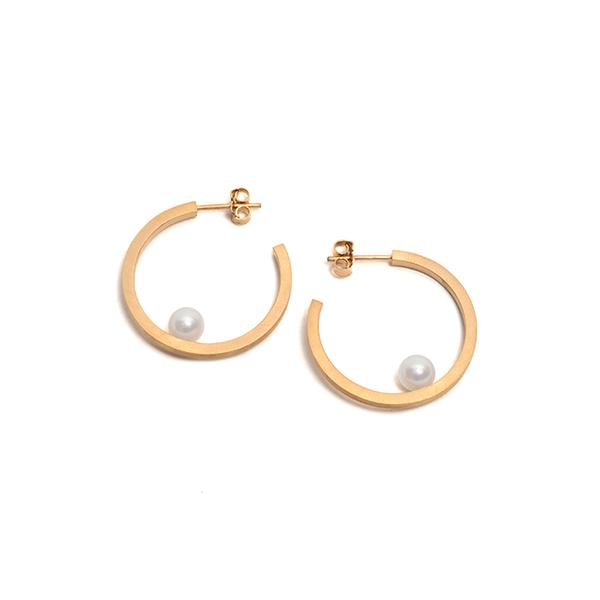Small Golden Pearl Hoop Earrings