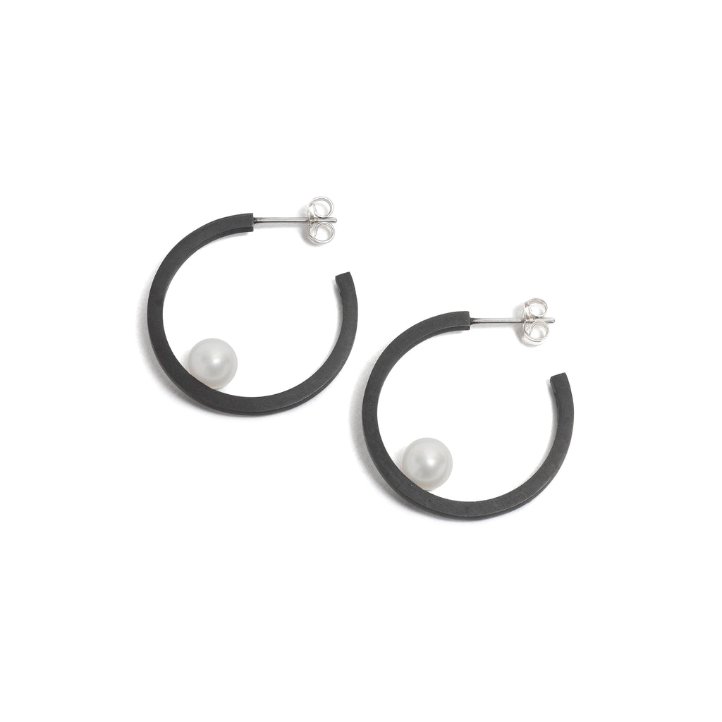 Small Oxidised Pearl Hoop Earrings
