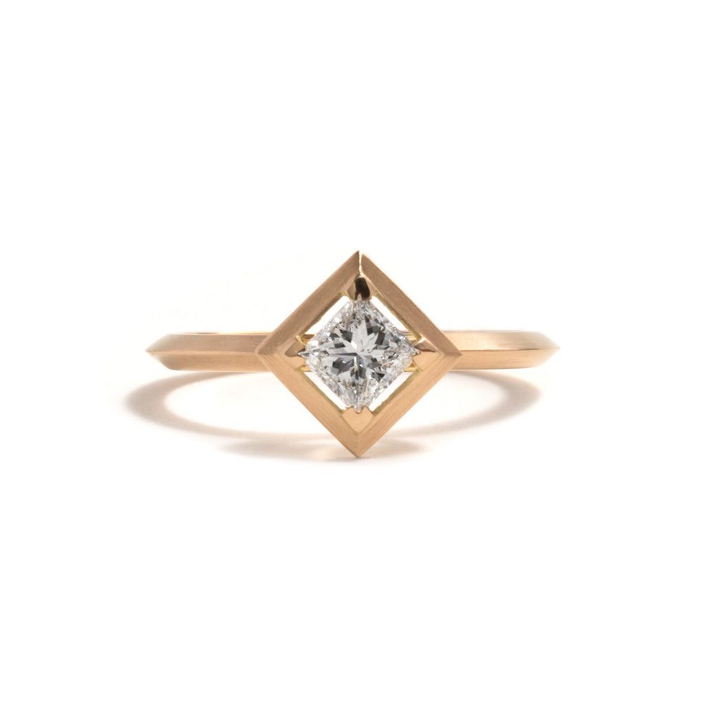 Square Diamond Element Engagement Ring