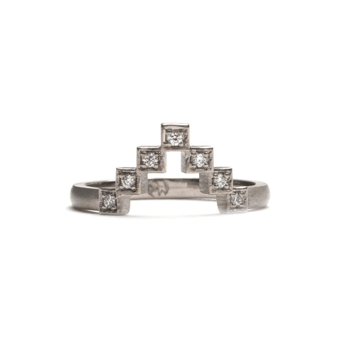 Stepped Pyramid Diamond Ring