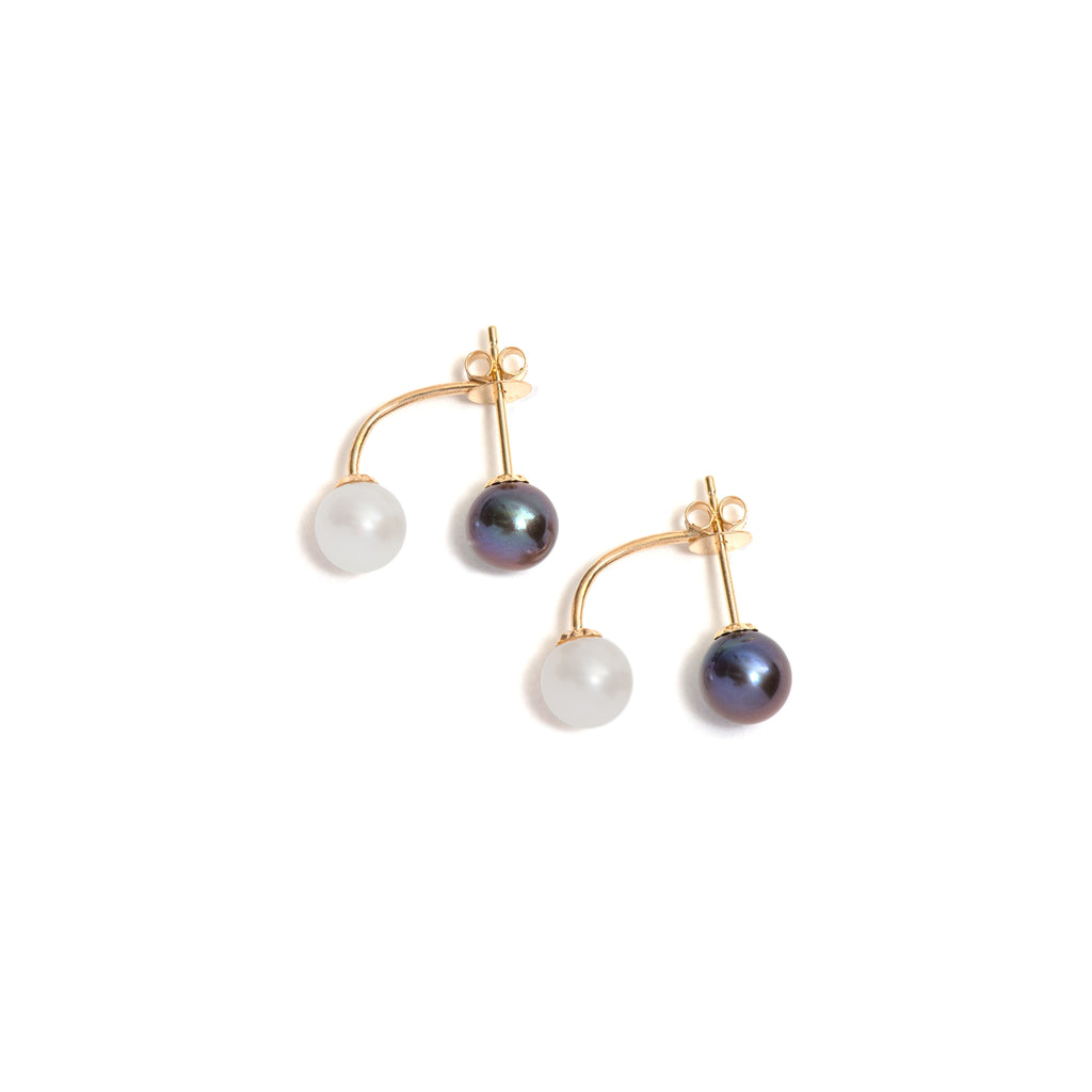 Small Suspended Pearl Stud and Ear Jacket