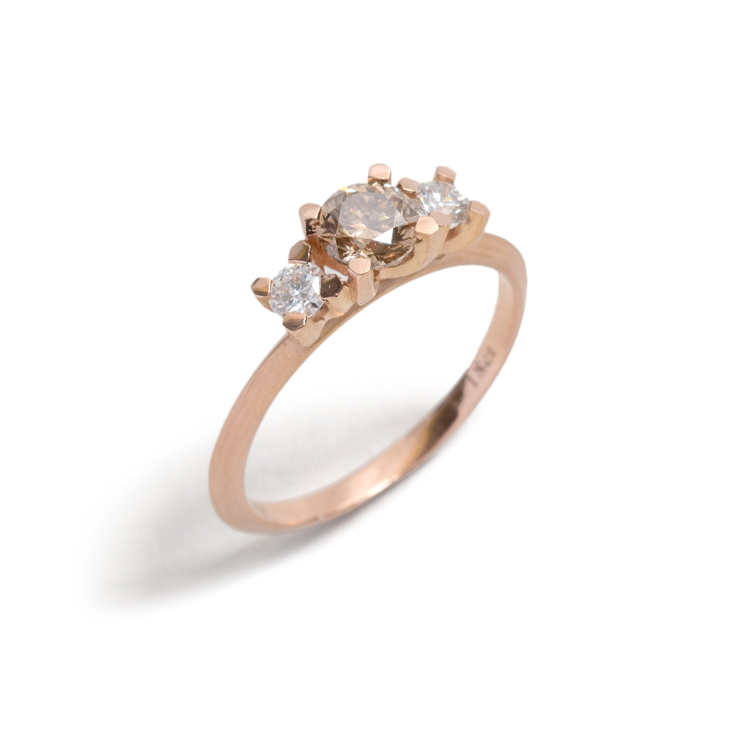 Three Stone Round Champagne and White Diamond Ring