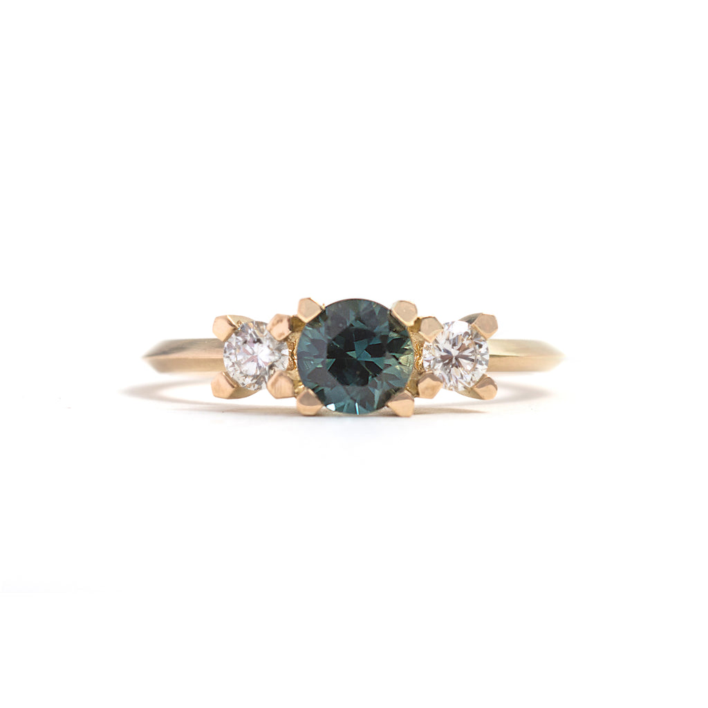 Three Stone Round Parti Sapphire and Diamond Ring