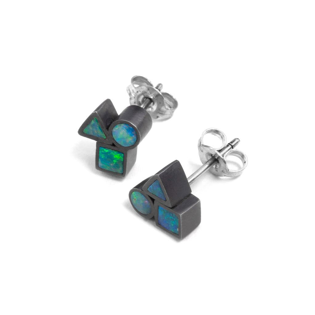 Tiny Oxidised Opal Element Cluster Stud Earrings