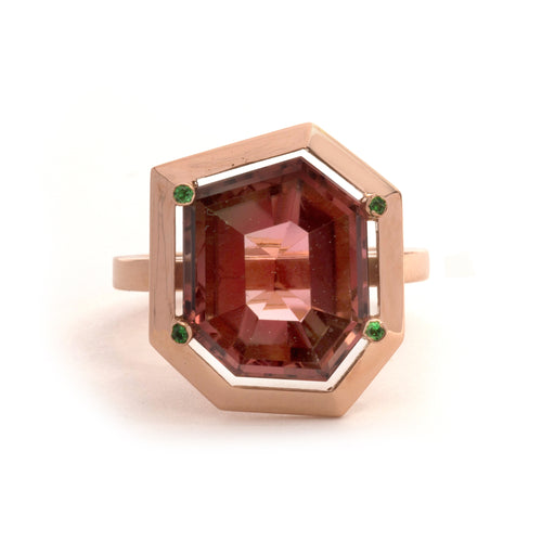 Tourmaline and Tsavorite Garnet Four Claw Elevate Ring