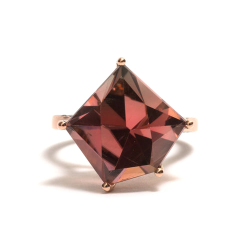 Watermelon Tourmaline and Black Diamond Ring