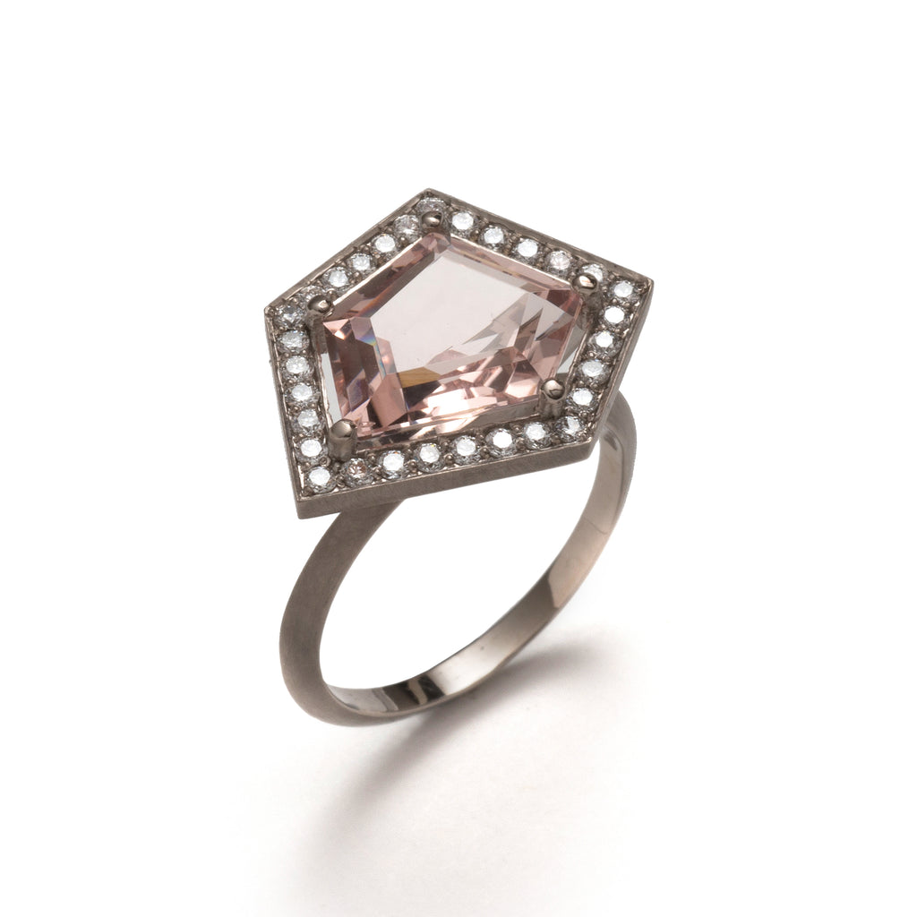White Diamond and Pink Morganite Five Claw Elevate Ring