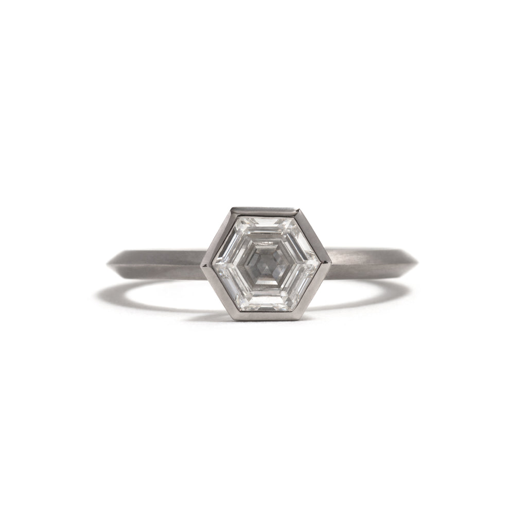 White Gold Hexagonal Diamond Ring