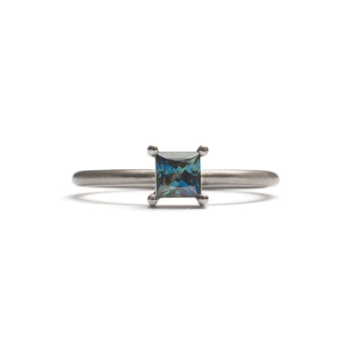 White Gold Parti Sapphire Element Large Princess Cut Stacking Ring