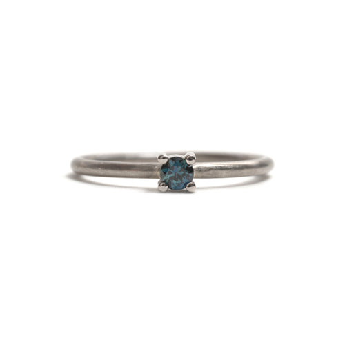 White Gold Parti Sapphire Element Small Round Brilliant Cut Stacking Ring