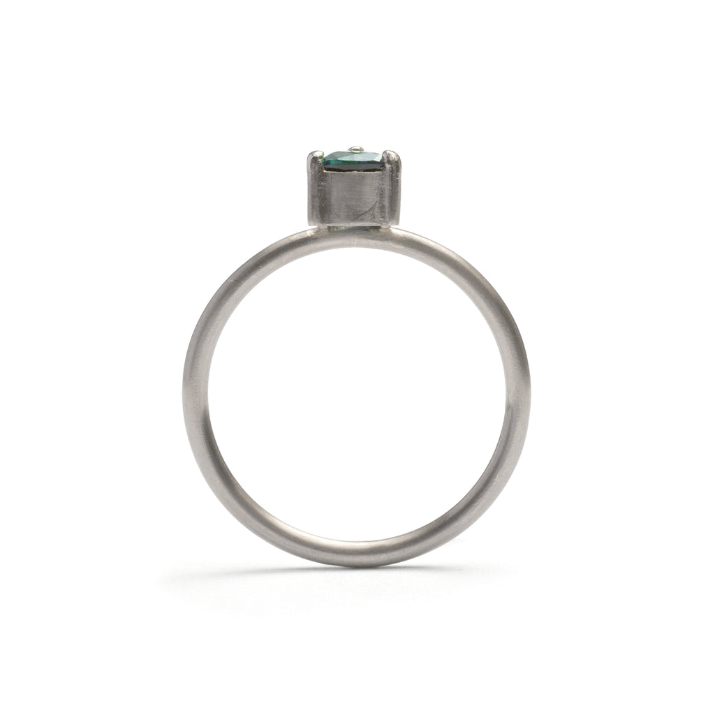 White Gold Parti Sapphire Element Small Trilliant Cut Stacking Ring