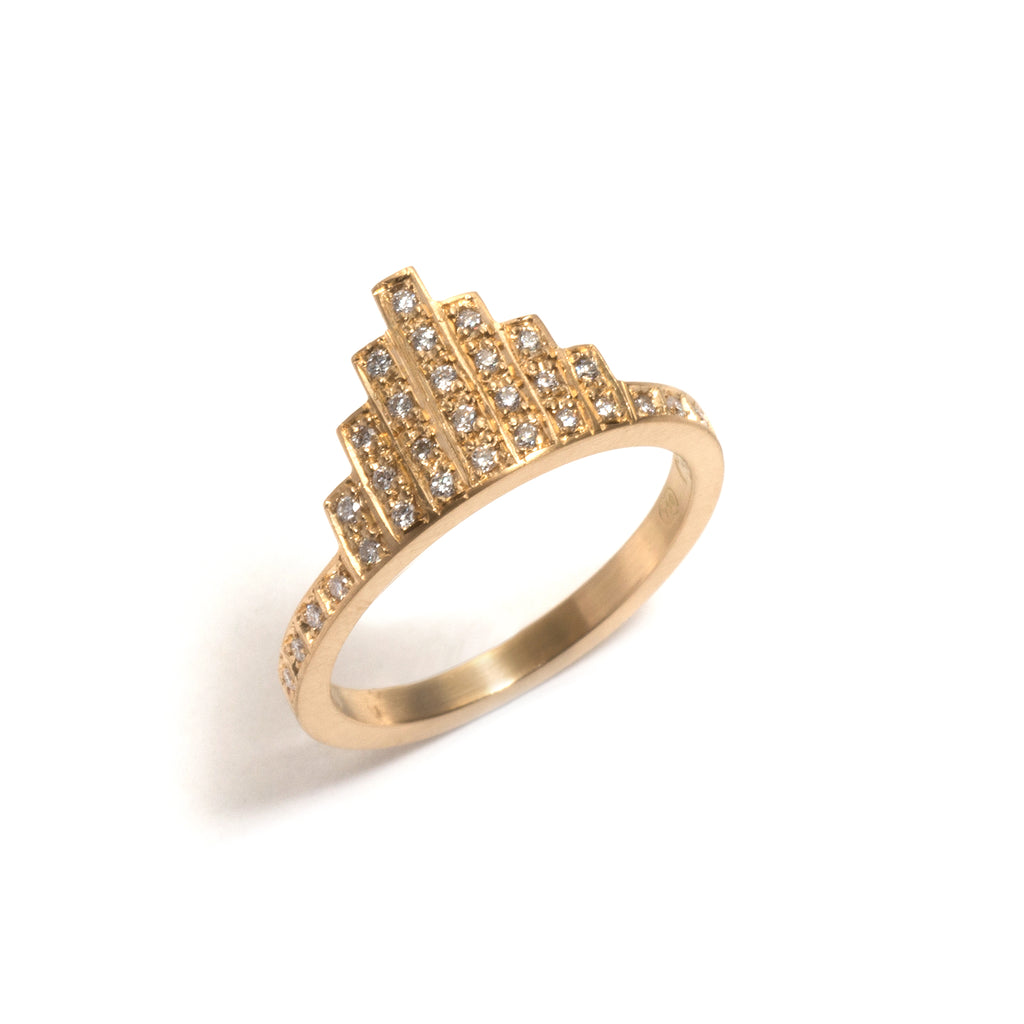 Yellow Gold Diamond Skyline Ring
