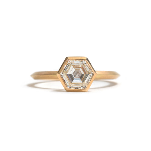 Yellow Gold Hexagonal Diamond Ring