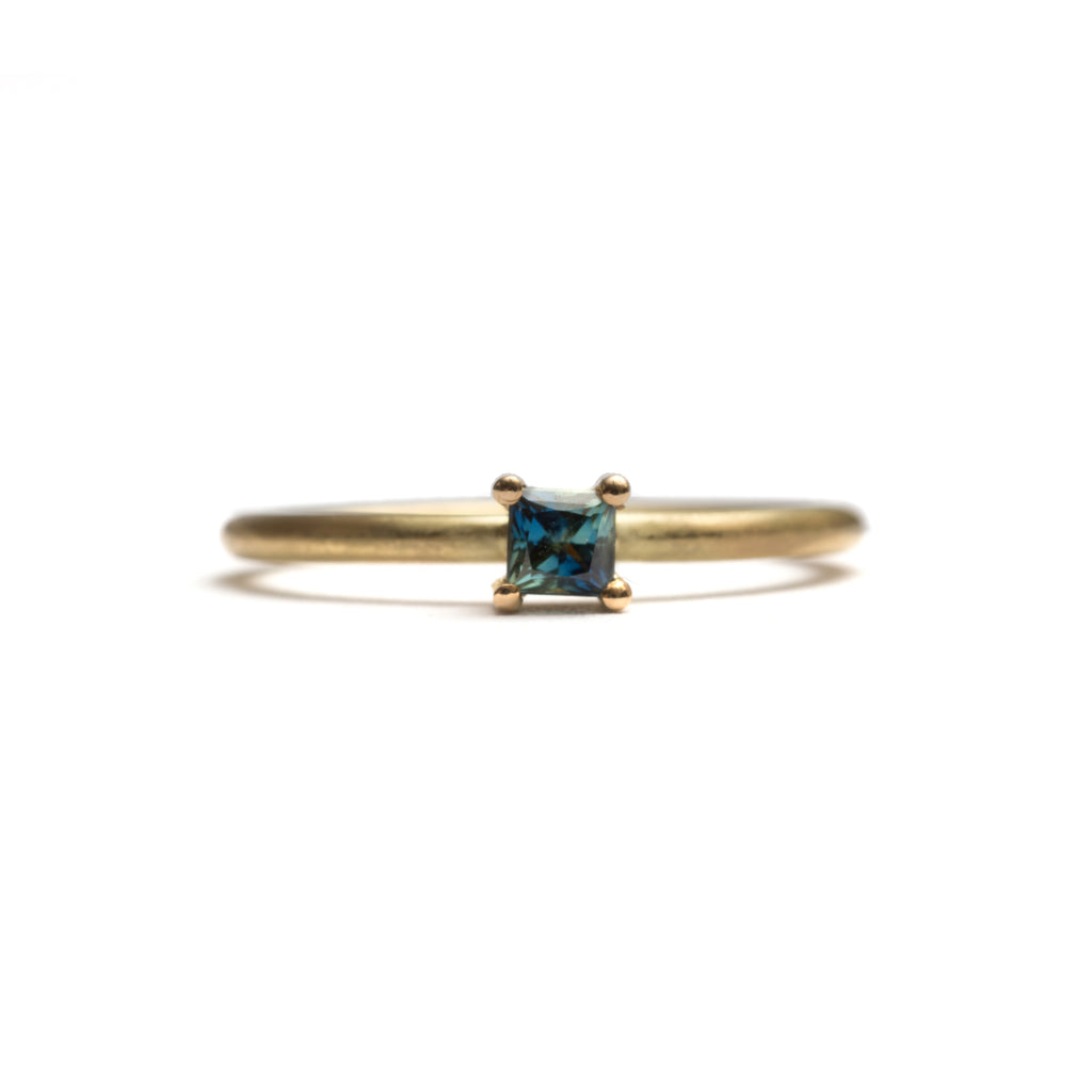 Yellow Gold Parti Sapphire Element Small Princess Cut Stacking Ring