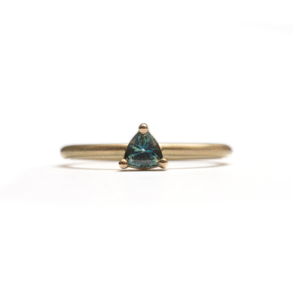 Yellow Gold Parti Sapphire Element Small Trilliant Cut Stacking Ring