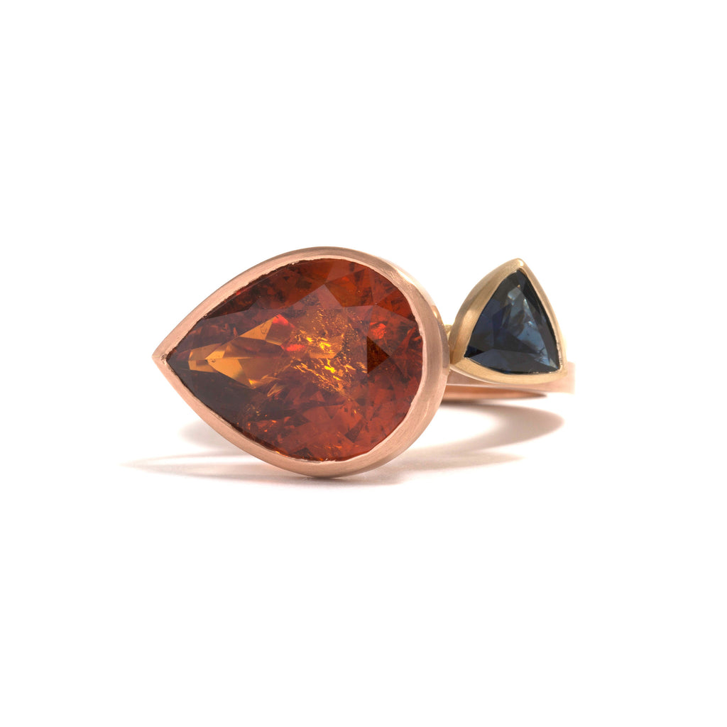 Rare Orange Red Pear Cut Garnet Ring