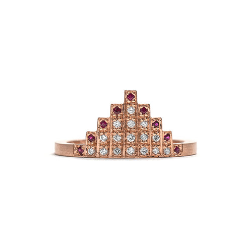 Rose Gold Diamond and Ruby Skyline Ring
