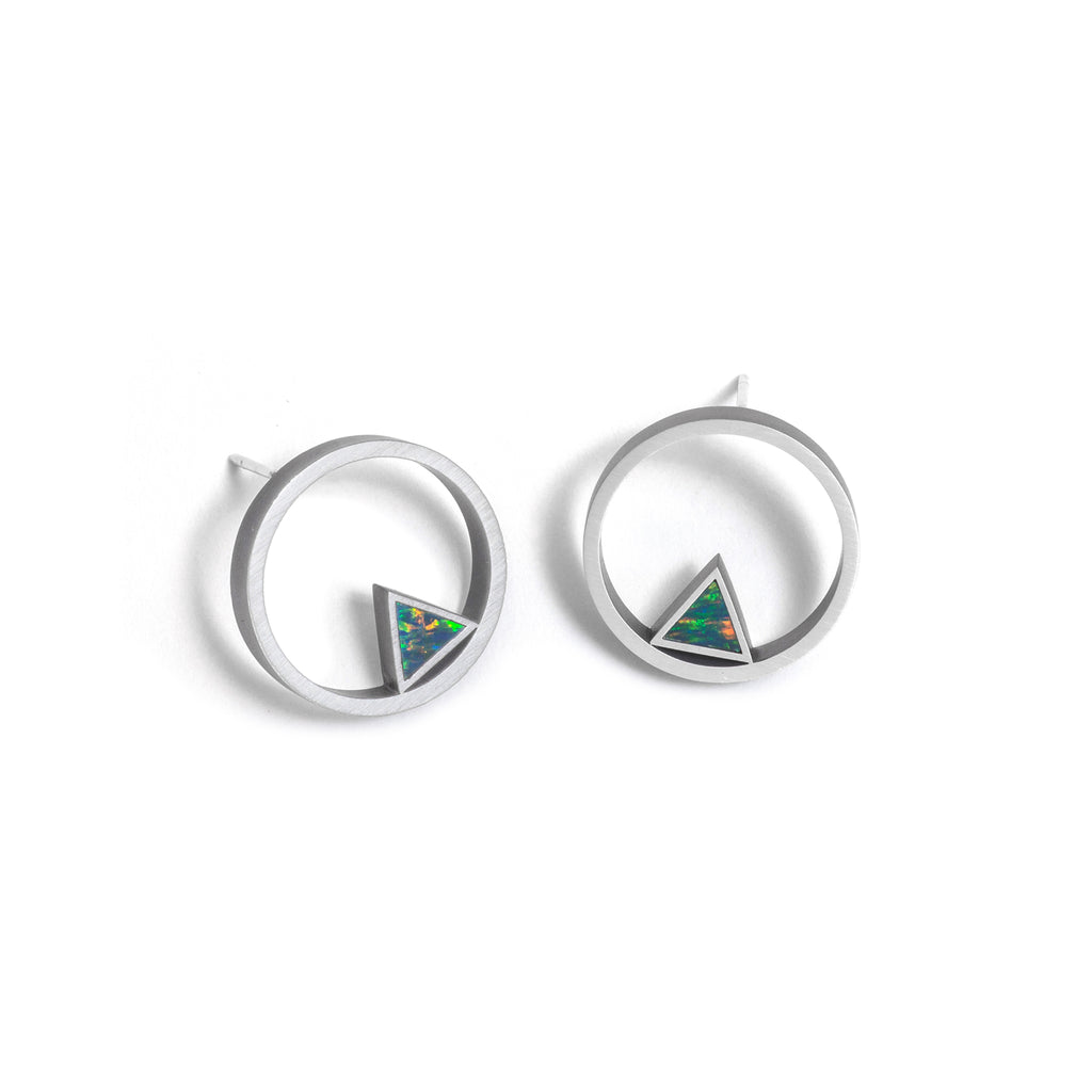 Large Triangle Opal Element Circle Stud Earrings