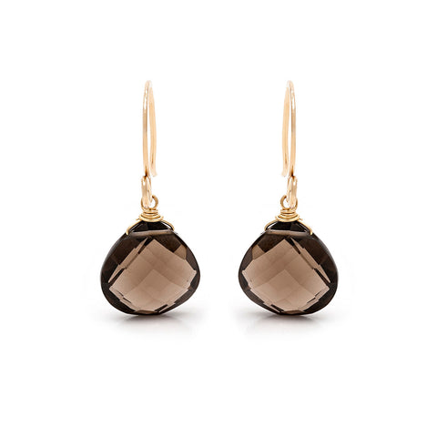 Drop Earrings - Gold with Smokey Quartz