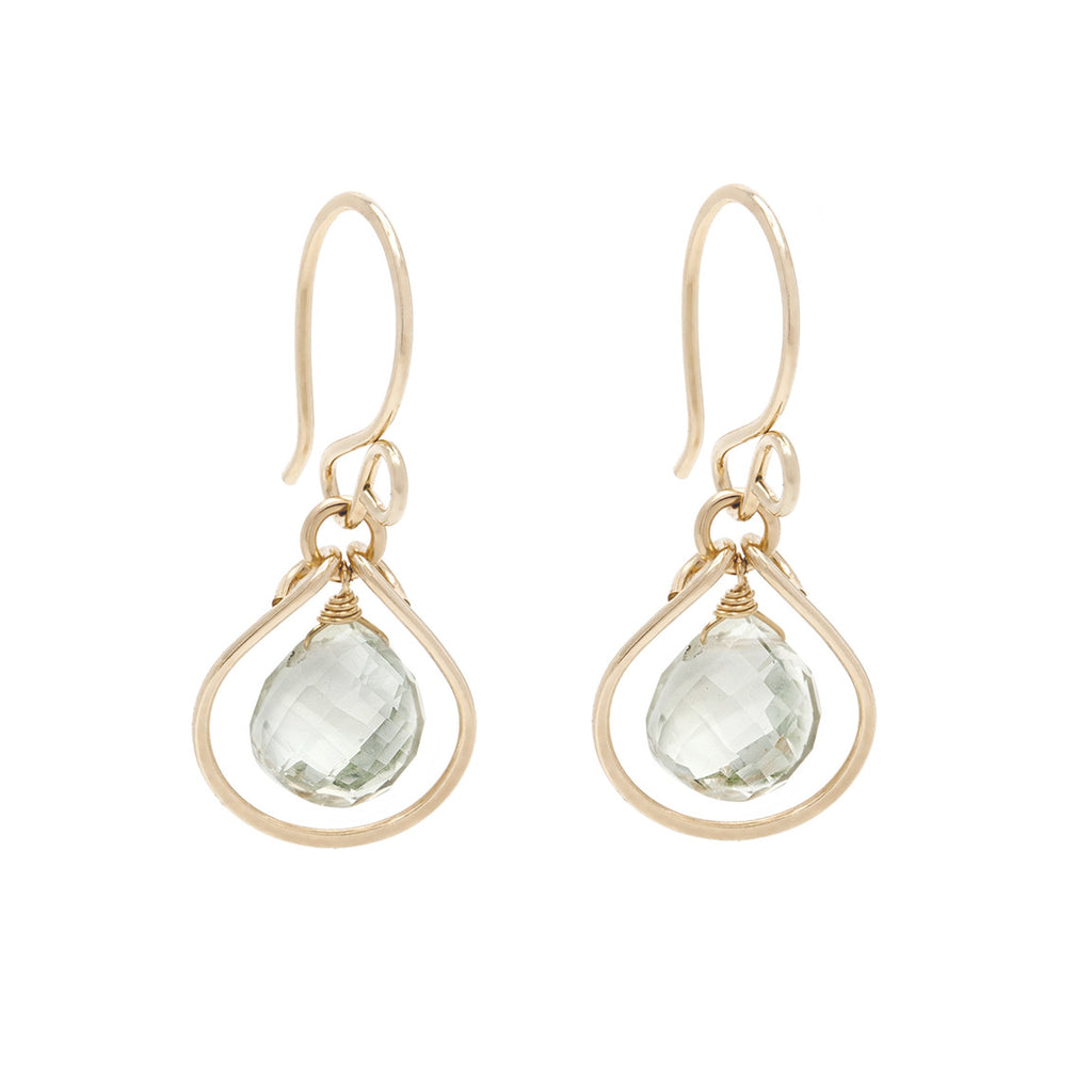 Jewel Drop Earrings - Gold with Green Amethyst