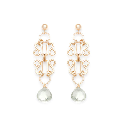 Lattice Earrings - Gold with Green Amethyst