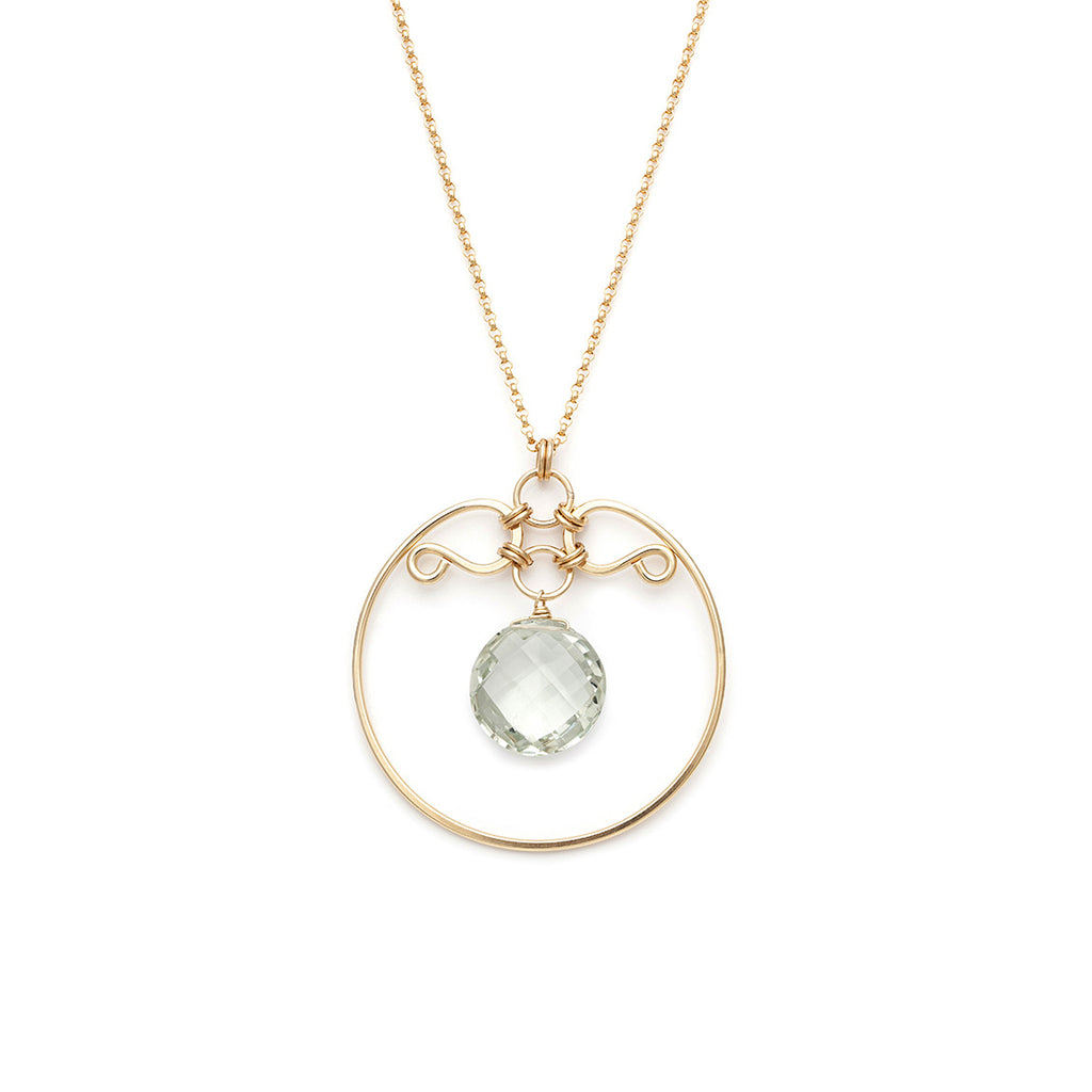 Gala Necklace - Gold with Green Amethyst