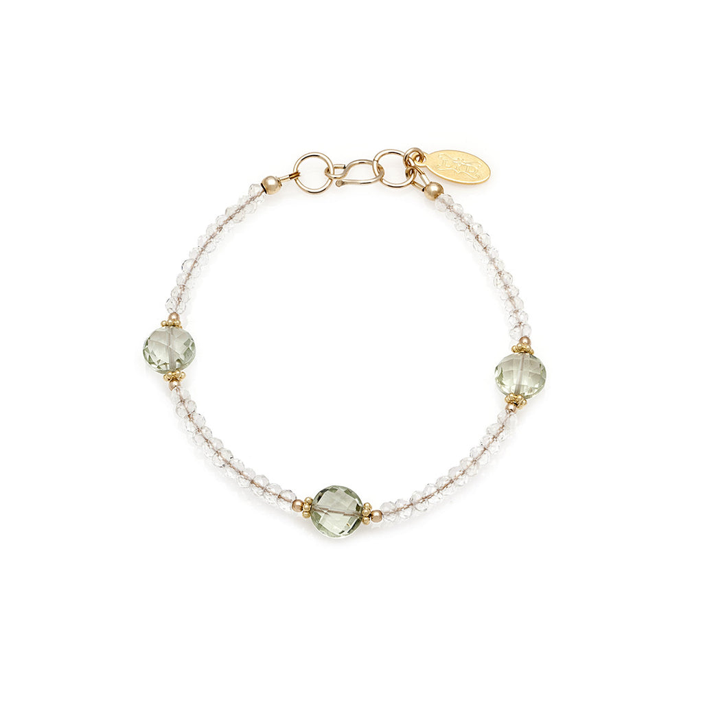 Jewel Bracelet - Gold with Green Amethyst